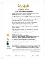 Sandals Whitehouse Fact Sheet (pdf) - JamaicaMania