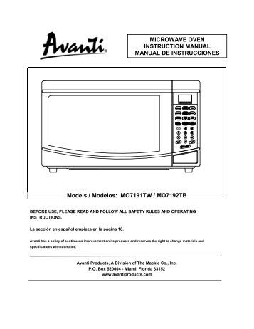 Models / Modelos: MO7191TW / MO7192TB MICROWAVE ... - Abt