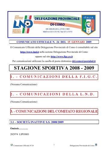 COMUNICATO n.24 del 15/01/2009 - FIGC