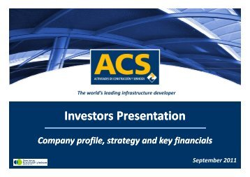 Presentation to Investors - September - Grupo ACS