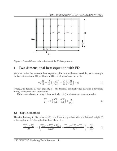 1 Two-dimensional heat equation with FD - USC Geodynamics