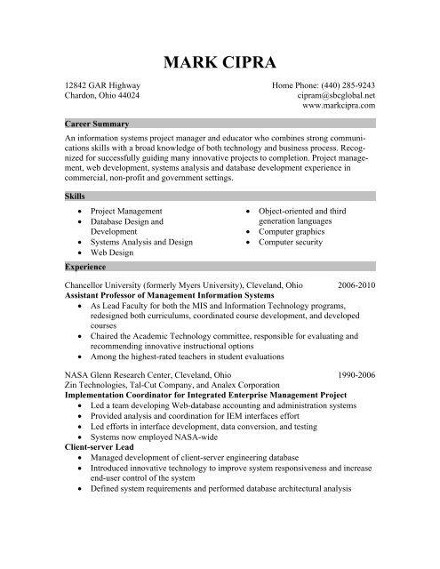 Download Resume Mark Cipra Home