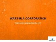 Corporate presentation 2013 - Wärtsilä