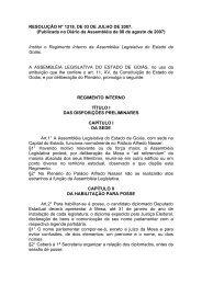 Regimento em PDF - Assembleia Legislativa do Estado de Goiás