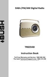 DAB+/FM/AM Digital Radio TR82DAB Instruction Book - Bush