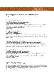 Museumsprogramm 2013 - ZeitOrte