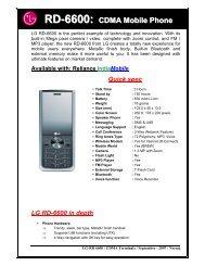 RD-6600: CDMA Mobile Phone - LG Mobiles