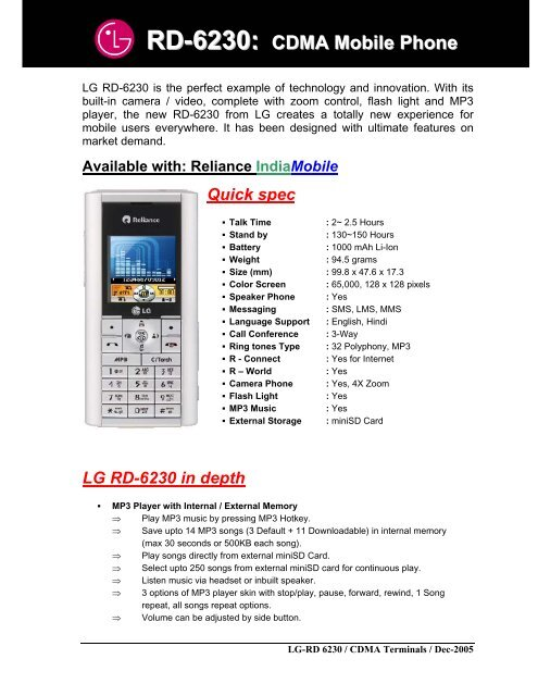 RD-6230: CDMA Mobile Phone - LG Mobiles