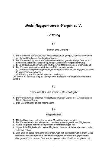 vereinssatzung - Vereinssatzung Muster