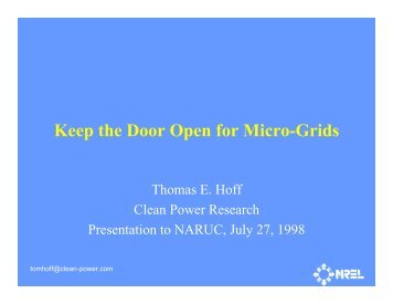 Keep the Door Open for Micro-Grids - Clean Power Research
