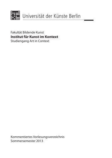 Vorlesungsverzeichnis SS 2013 - Institut für Kunst im Kontext