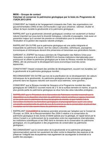 propuestas de la comisión de patrimonio geológico ... - IUCN Portals