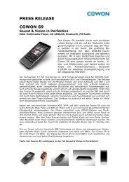 PRESS RELEASE COWON S9