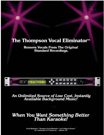 The Thompson Vocal EliminatorTM Remove Vocals ... - LT Sound