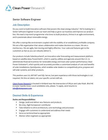 Software Engineer Job Description Desired Skills & Experience