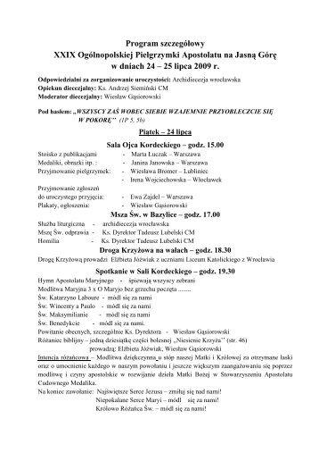 pobierz Szczegółowy Program Pielgrzymki w formacie PDF