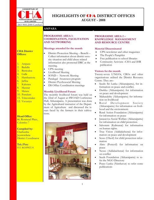 highlights of cha district offices - Consortium of