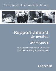 SCT Rapport annuel 2004 - Secrétariat du conseil du trésor ...
