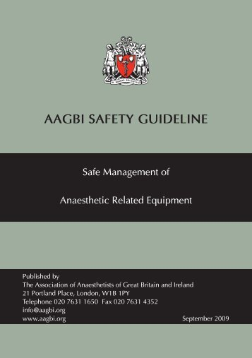Safe Management of Anaesthetic Equipment - aagbi