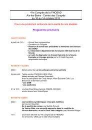 41e Congrès de la FNOSAD Aix-les-Bains - Centre des Congrès du ...