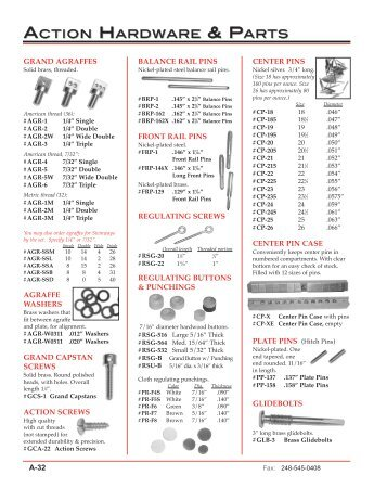 action hardware & parts view catalog - Pianotek Supply Company