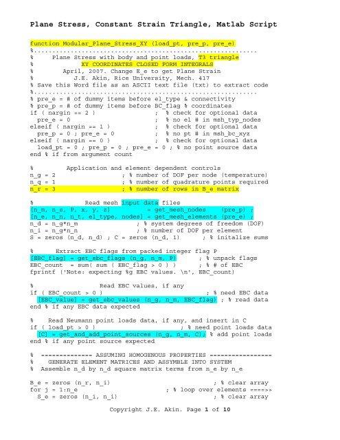 Plane Stress, Constant Strain Triangle, Matlab Script
