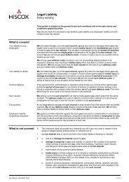 Bar Mitzvah: Legal Liability - Policy wording (PDF) - Hiscox
