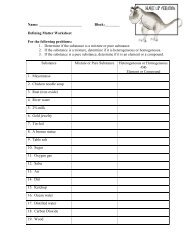 Defining Matter Worksheet For The Following