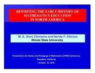 rewriting the early history of mathematics education ... - HPM-Americas