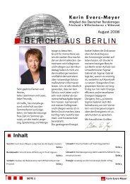 Bericht aus Berlin August 2008 - Karin Evers-Meyer