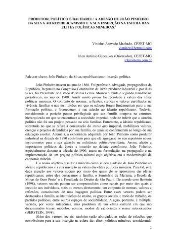 produtor, político e bacharel: a adesão de joão pinheiro da silva ao ...