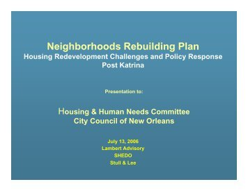 Neighborhoods Rebuilding Plan - New Orleans City Council