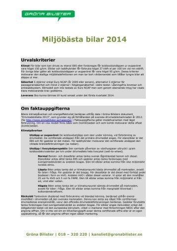 Miljöbästa bilar 2014 - Gröna Bilister