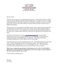 New Client Packet - Lori Foley, Homeopathy, Minneapolis MN