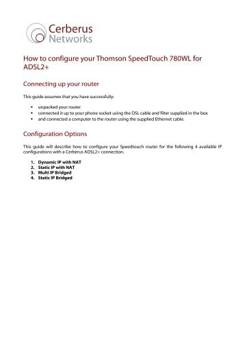 How to configure your Thomson SpeedTouch 780WL for ADSL2+