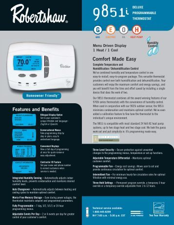 9851i Programmable - Robertshaw Thermostats