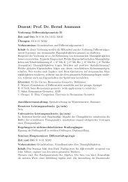 Dozent: Prof. Dr. Bernd Ammann - Mathematik