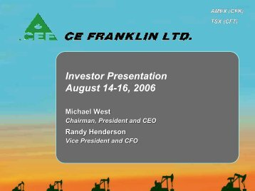 Investor Presentation - CE Franklin Ltd.