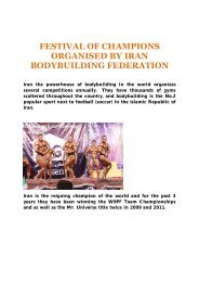 festival of champions organised by iran bodybuilding ... - ABBF