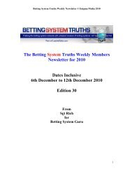 The Betting System Truths Weekly Members Newsletter for 2010 ...