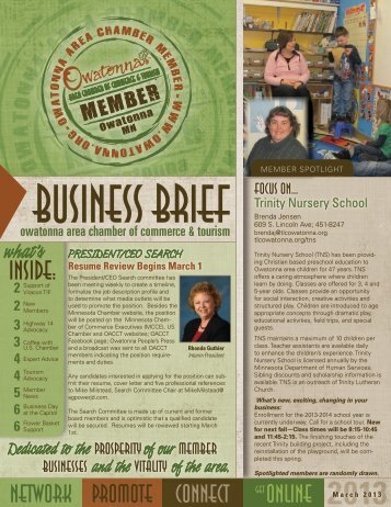 March 2013 - Owatonna Chamber of Commerce and Tourism