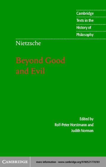 Beyond Good and Evil: Prelude to a Philosophy of the Future - EILFE