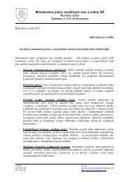 Tlačová správa MPSVR SR - Fond sociálneho rozvoja