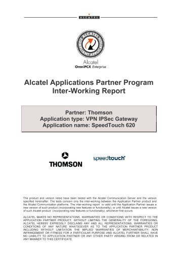 Alcatel Applications Partner Program Inter-Working Report - PABX