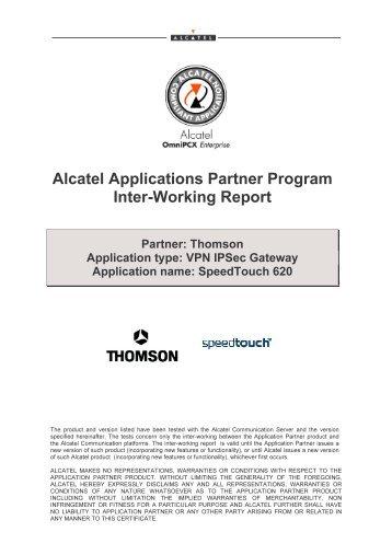 Alcatel Applications Partner Program Inter-Working Report - PABX