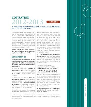 2012-2013 cotisation - Ordre des chimistes du Québec