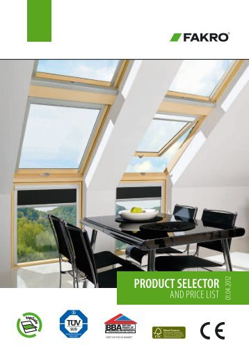 Product selector and price list - Roof Windows