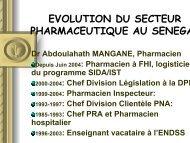 evolution du secteur pharmaceutique au senegal - ReMeD