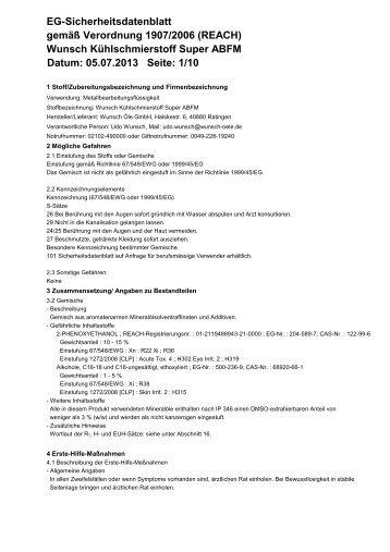 Wunsch Kühlschmierstoff Super ABFM Datum: 06.02.2013 Seite: 1/6 ...