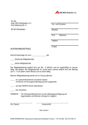 Mitgliedsantrag hier herunterladen (pdf). - AIDS-Hilfe Wiesbaden